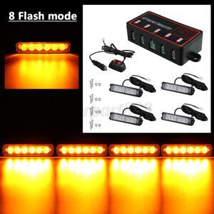 4x LED Strobe Flash Light Warnning Grille Light Beacon Lamp Amber Car Van Truck