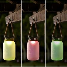 3x Solar Power Outdoor Colour Changing LED Mason Jar Lantern Light Garden Patio
