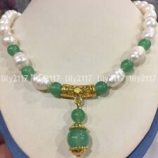 Natural 10-11mm freshwater rice pearl green Emerald Gems pendant necklace 18''