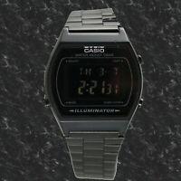 Casio B-640WB-1B Unisex Black Watch Digital Stainless Steel Band Flash Alert New
