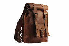 Indian Real Genuine Leather Vintage Roll Top Backpack / Rucksack Rolling Bag 002