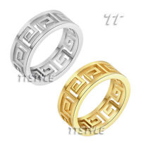 TT Stainless Steel Hollow Greek Key Band Ring Silver/Gold (R339)