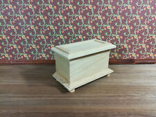 Dollhouse Miniature Unfinished Wood Blanket Trunk 1:12 Scale Furniture