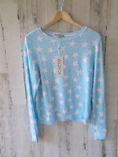 WILDFOX Stars & Hearts Sweatshirt Light Blue Pink Baggy Beach Jumper S