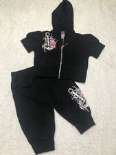 $118 NWT 2 PC FLOWERS BY ZOE BLACK S/S HODDIE & SHORT SET W/ RHINESTONES SZ 2