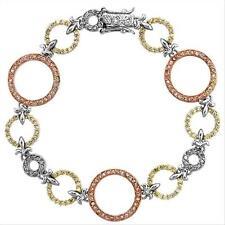 "925 Silver Tri-Color 2.2ct CZ Estate Link Bracelet, 7"""