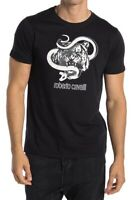 Roberto Cavalli Size Medium Tiger Graphic Crew Neck Cotton T-Shirt Black
