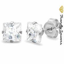 Women Men Genuine 925 Sterling Silver Cubic Zirconia Round/Square Stud Earrings