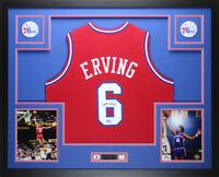Julius Dr. J  Erving  Autographed &  Framed  Red 76ers Jersey JSA COA D6-L