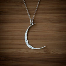 925 Sterling Silver Crescent Moon Face Pendant FREE Round Cable Link Chain