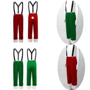 Kids Boys Christmas Outfit Velvet Pant Elastic Waistband Cosplay Party Costume