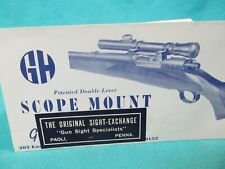 1940's G&H Griffin & Howe Double Lever Scope Mounts Advertising Brochure