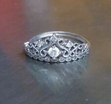 Sterling Silver Crown Ring with White Stone Size 9.5