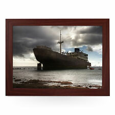 Massive Shipwreck - Personalised Top Quality Wooden Framed Padded Laptray L0040