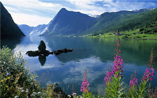 Mountains Photography Backdrops Photo Props Scenic Background Lake Vinyl 7x5FT