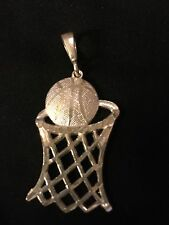 BASKETBALL IN HOOP Sterling Silver .925 Charm Pendant