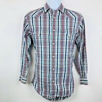 Lucchese Mens Shirt Size Small Blue Orange Plaid Longsleeved Pearl Snap Western