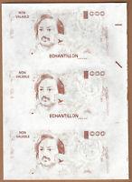 Probedruck Testbanknote Specimen Frankreich 1988 Echantillion Balzac 3er Streife