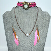 Jewelry Set Southwest Design Earrings Necklace Watch Bracelet Pink Brown