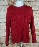 Nautica Cable Knit Sweater Red SZ M 100% Cotton