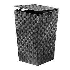 Wäschekorb mit Deckel in trendigem schwarz Wäschebehälter geflochten 17227-22