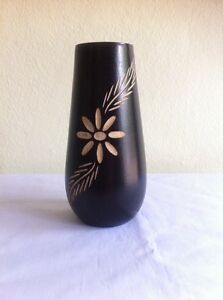 Mango Wood Vase Flowers Crafted Handmade+ Track