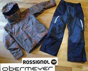 lot ROSSIGNOL ski team jacket waterproof insulated OBERMEYER snow pant boy 10 12