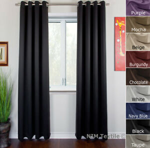 Pure Fabric Thermal Insulated BLOCKOUT BLACKOUT Curtains 140/180(W)x244(L)
