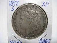VERY RARE DATE 1892 s MORGAN DOLLAR VERY NICE EXF.  ESTATE COIN  w148