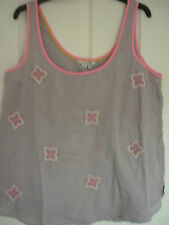 BODEN EMBROIDERED VEST TOP. LAVENDER GREY PINK TRIM. UK 12, EUR 38-40, US 8  NWT