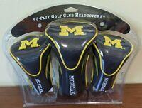 Team Golf Contour Golf Club Headcovers 3pk (Michigan, NAVY) NCAA New