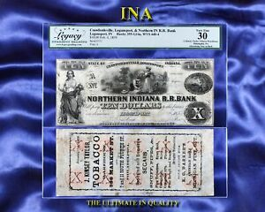 INA Northern Indiana RR $10 and J Kinsey Taylor Tobacco Ad Note LEGACY VF30 Rare