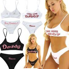 Sexy Women's Yes Daddy Printed Bra Briefs Underwear Set Swimwear Cosplay Costume