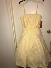 MONIQUE LHUILLIER Spaghetti Strap Dress YELLOW LACE OVERLAY Size 8 NEW Tags
