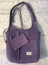 UGG Australia Sheepskin Suede Shearling Leather Shoulder Crossbody Purse Purple