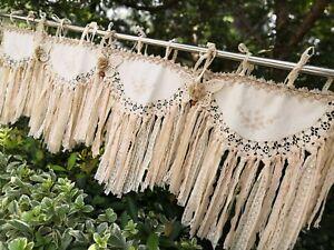 BOHO~Shabby~Woodland Cottage Rustic Crochet Curtain Valance Wall Hanging~Beige~