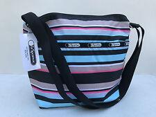 New $58 LeSportsac Small Cleo Tennis Stripe Crossbody Bag Black Pink Baby Blue