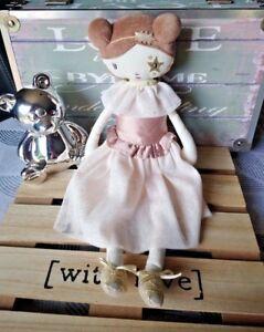 Doudou poupée chiffon robe paillettes étoile doré Tao Dream 35 cm Tape à l'œil