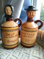 Pennsbury Pottery Americana oil vinegar man and woman smiling Amish pair