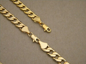 Men's Yellow Gold Plated Cuban Chain Necklace & Bracelet Set 30in Long 10mm Wide