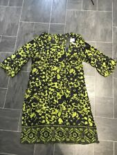 ATMOSPHERE SIZE 10 GREEN & NAVY FLORAL SUMMER DRESS/SHORT TOP WITH 3/4 SLEEVES