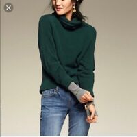 Cabi #3532 Womens Cowl Neck Pullover Sweater Size Small Green Gathered Sleeve