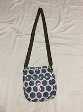 Thirty-One 31 Retro Metro Crossbody in Grey Mod Dot w/ PINK Breast Cancer Ribbon