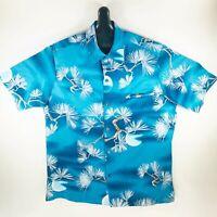 Tori Richard Vintage 70s Mens Hawaiian Aloha Shirt Blue Medium