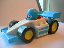 """VINTAGE TONKA BLUE  & WHITE PLASTIC RACE CAR 6 3/4"""""""