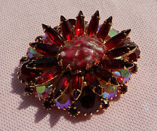 Big Vintage Gold Pl Bright Ruby Red Rhinestone JULIANA D&E Easter Egg Pin Brooch