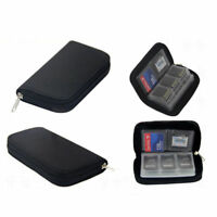 Black 22 Slots Memory Card Case Waterproof SD Card Holder Carrying Bag for Card