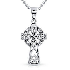 MENDINO Men's Stainless Steel Pendant Necklace Classic Irish Celtic Knot Cross