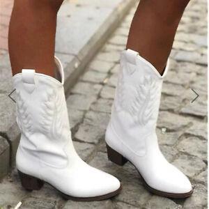Women's Western Riding Cowboy Biker Shoes Embroidered Mid Calf Block Heel Boots