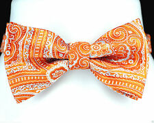 Orange & Blue Paisley Mens Bow Tie Adjustable Neck Tuxedo Wedding Bowtie New